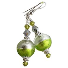 Lime Green 24KT White Gold Foil Murano Glass Earrings