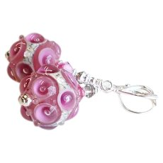Pink Gray Cream Lampwork Glass Earrings with Swarovski Crystals