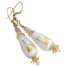 White Murano Earrings With 24KT Gold Foil and Sterling Silver Foil