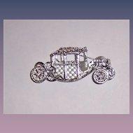 Vintage Cinderella Coach Pin Rhodium Plated Dazzling