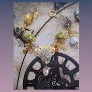 Artisan Steam Punk in the Garden Charm Bracelet