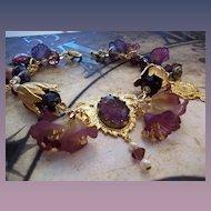 Artisan Steam Punk in the Garden Charm Bracelet in Violet
