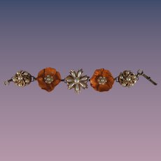 Modified Charm Bracelet Repurposed Flowers Daisy and Simulated Pearls