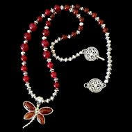 Petite Carnelian Dragonfly Necklace, 19-3/4 Inches