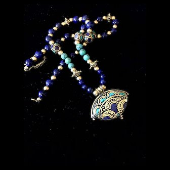 Nepalese Pendant Necklace of Brass, Lapis and Turquoise, 20-1/4 Inches