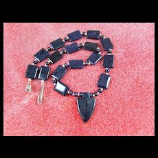 Artisan Arrowhead Necklace: Blue Goldstone: 19 Inches