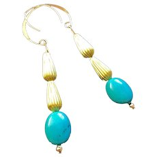 Turquoise and Brass Teardrop Earrings on 14K Gold-Fill Ear Wires, 2-7/8 Inches