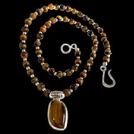 Unisex Tiger's Eye Necklace, 19-3/8 Inches