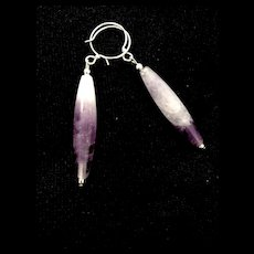 Amethyst and Sterling Silver Earrings, 2-1/2 Inches