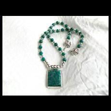 Russian Amazonite & Sterling Silver Necklace, 17-1/2 Inches