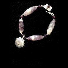 Locket on a Wrist Bracelet of Amethyst and Sterling, 8 Inches
