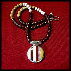 Agate, Jasper & Sterling Silver Heishi Necklace, 17-3/8 Inches