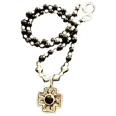 Sterling Silver and Black Onyx  Four-Sided Cross Necklace, 20 Inches