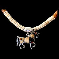 Heishi Necklace with Stunning Horse Pendant, 18-3/4 Inches