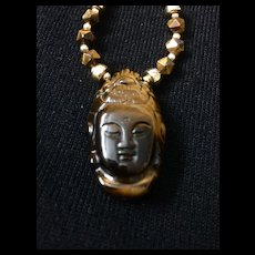 Tiger Eye and Gold Fill Quan Yin Pendant Necklace, 18-1/4 Inches