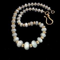 Exquisite Aquamarine Necklace, 19 Inches