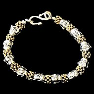 Silver- and Gold-Colored Zinc Alloy Buddha Bracelet, 7-3/4 Inches