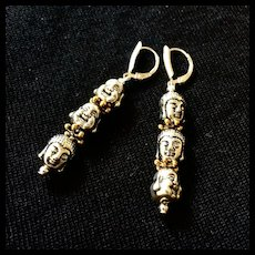 Silver- and Gold-Colored Zinc Alloy Buddha Earrings, 2-1/2 Inches