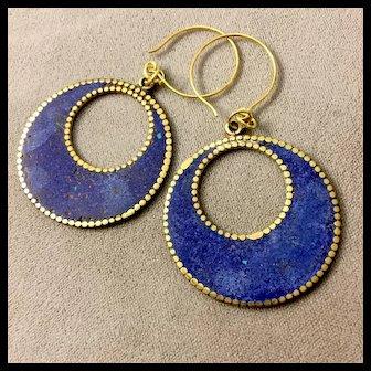 Denim & Brass Earrings, 2-3/4 Inches