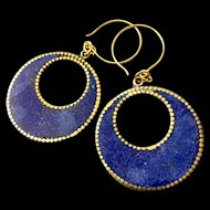 Denim & Brass Earrings, 2-3/4 Inches
