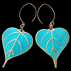Turquoise and Brass Dangling Leaf Earrings, 3-3/8 Inches