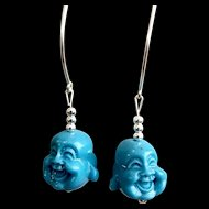 Turquoise Buddha Earrings, 2-1/4 Inches