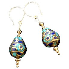 Nepalese Lapis, Turquoise and Brass Earrings, 2-1/8 Inches