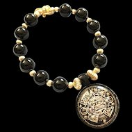 Black Onyx and 18K Gold Fill Bracelet with Aztec Sun God Pendant