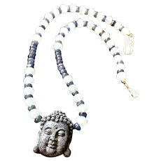 Buddha Necklace of Sodalite, Moonstone and Kyanite, 17-1/4 Inches