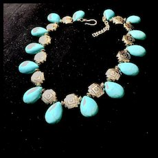 Nepalese Turquoise Choker Necklace, 16 - 17.5 Inches