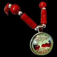 Tree of Life Bracelet of Red Sponge Coral & Sterling Silver, 7-7/8 Inches