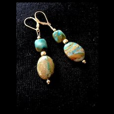 Peruvian Blue Opal Earrings, 2-1/4 Inches