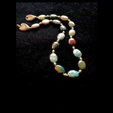 Peruvian Blue Opal Necklace, 18-1/4 Inches