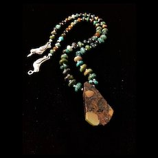 Kissing Birds Turquoise Necklace, 17 Inches