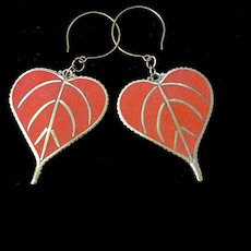 Red Leaf Earrings, 3-3/8 Inches