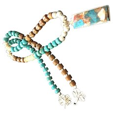 Asymmetrical Turquoise and Agate Necklace, 17-3/4 Inches