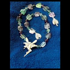 Fairy Necklace of Fluorite and Sterling Silver, 21-3/8 Inches