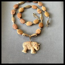 Elephant Totem Necklace of Rainbow Hickoryite & Sterling Silver, 20-1/2 Inches