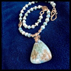 """Orchid Essence Necklace (""""Releasing Karmic Patterns"""") of Larimar & Sterling, 18 Inches"""