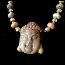 Fossil Coral Buddha Necklace