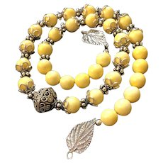 Lemonade Necklace of Yellow Coral and Lots of Sterling Silver, 19-3/4 Inches