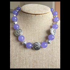 Lavender Jade and Sterling Silver Necklace and Earrings