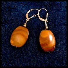 Golden Brown Mother-of-Pearl Earrings, 1-1/8 Inches