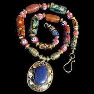 Multi-Cultural Necklace of Brass, Lapis, Millefiori Glass and Agate, 23 Inches