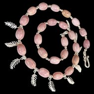 Delicate Peruvian Pink Opal and Sterling Silver Necklace, 17-3/4 Inches