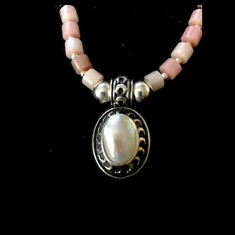 Pink Opal & Pink Mother of Pearl Necklace, 19-1/2 Inches