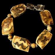 Man's Petroglyph Stone Bracelet, 9-1/8 Inches