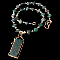 Chrysocolla and Gold-Fill Necklace, 20 Inches
