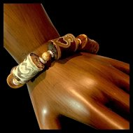 Unisex Bracelet of Tibetan Old Agate Bamboo Beads, 8-1/2 Inches
