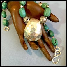Turquoise Howlite and Bali Sterling Silver Necklace, 19 Inches